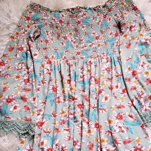 Women's Long Sleeve Floral Doll Baby Dress Size M